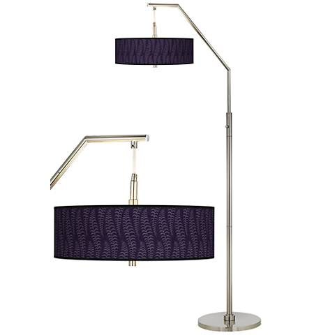 Stacy Garcia Fancy Fern Rich Plum Giclee Shade Arc Floor Lamp
