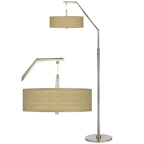 Woven Reed Giclee Shade Arc Floor Lamp