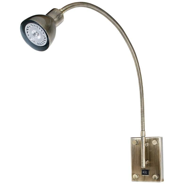 Antique Brass Gooseneck Plug-In Swing Arm LED Wall Lamp