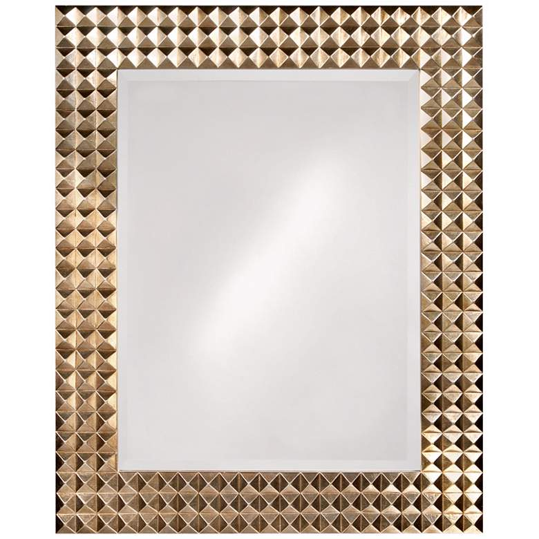 Pyramid Studded Frame with Silver Finish Wall Mirror