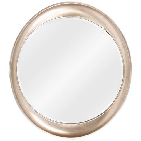 """Elliptical Burnished Silver 35"""" x 39"""" Wall Mirror"""