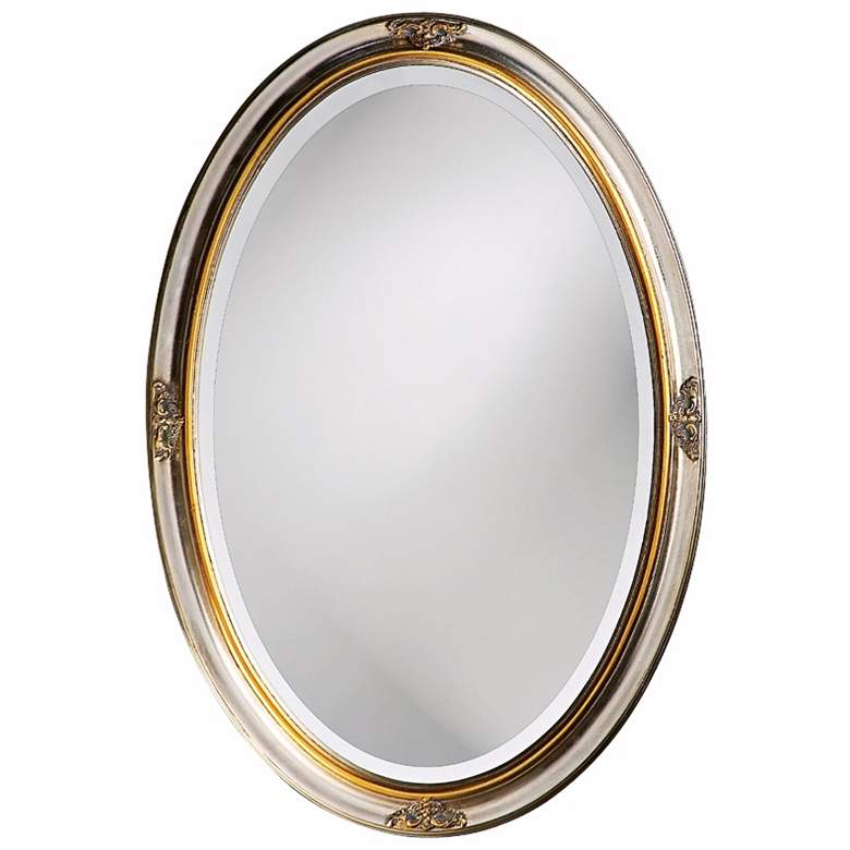 """White Gold Leaf 22"""" x 32"""" Oval Cameo-Esque Wall Mirror"""