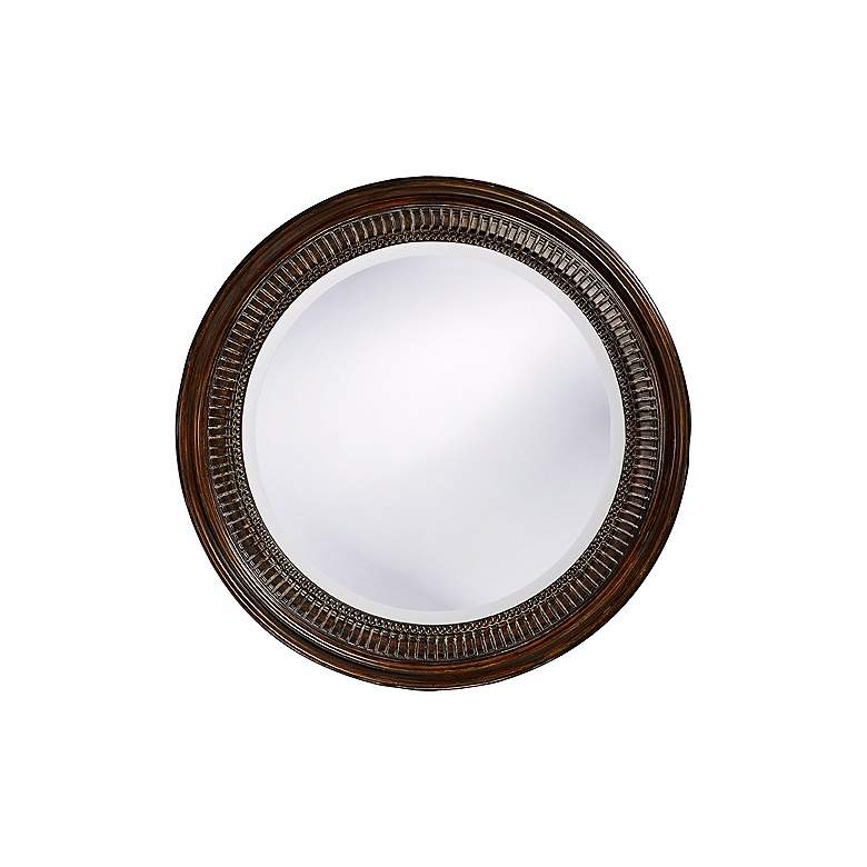 """Antique Brown Beaded 26"""" Round Wall Mirror"""