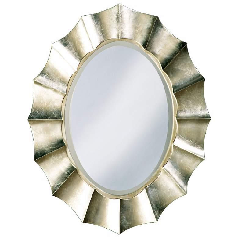 """Corona Silver Leaf 40"""" High Oval Wall Mirror"""