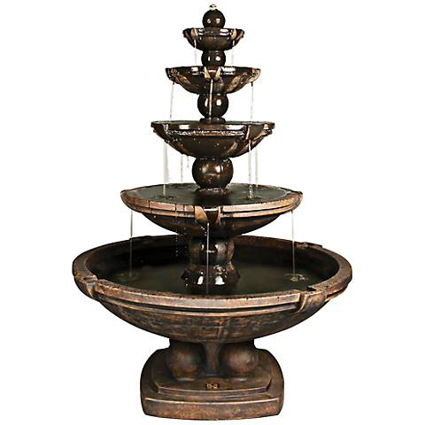"""Henri Studio 68 1/2""""H Relic Ebony 5-Tier Spheres Fountain"""