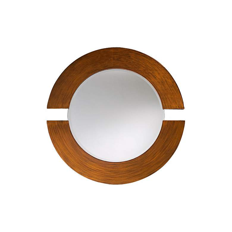 "Hemispheres Brushed Copper 38"" Round Wall Mirror"
