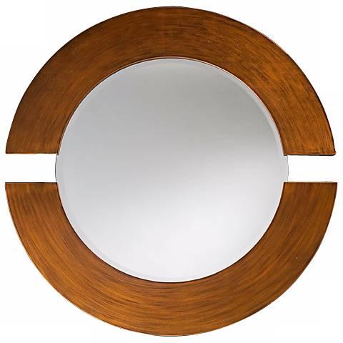 Hemispheres Brushed Copper Round Wall Mirror