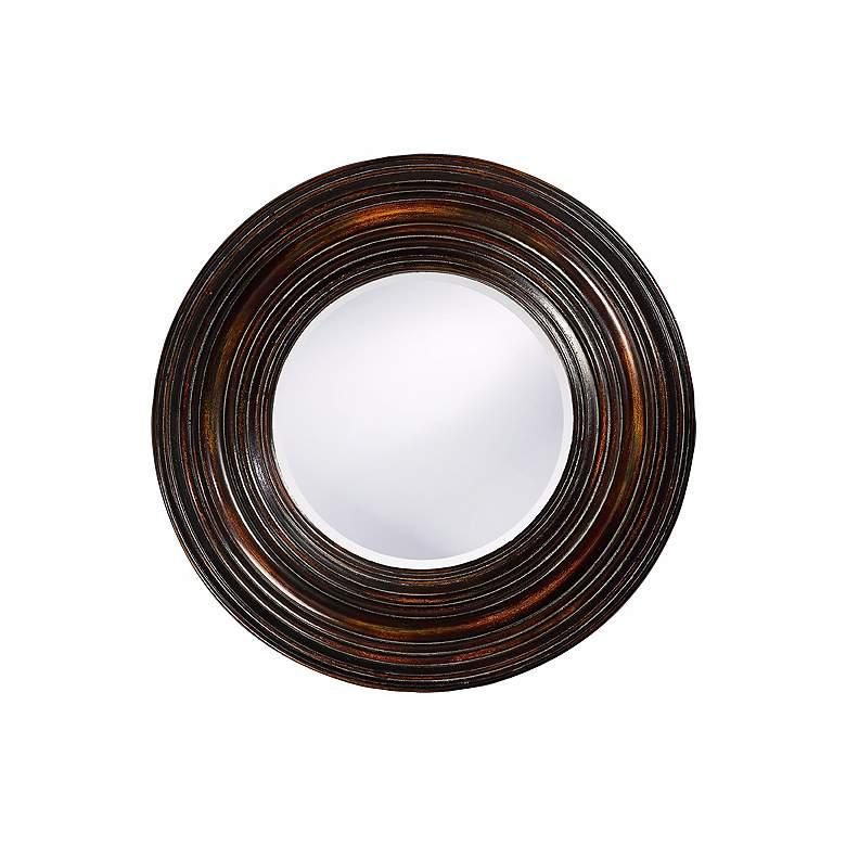 "Walnut Wood with Bronze Highlights 38"" Round Wall Mirror"