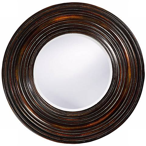 "Walnut Wood Finish 38"" Round Wall Mirror"