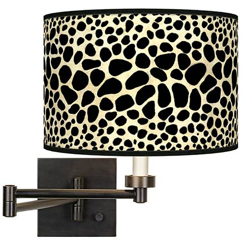 Leopard Giclee Bronze Swing Arm Wall Light