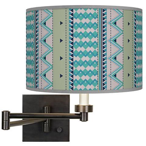 Geo Metrix Giclee Bronze Swing Arm Wall Lamp