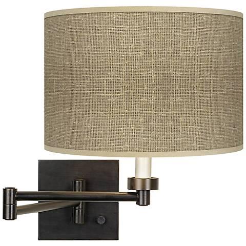 Burlap Print Dark Bronze Plug-In Swing Arm Wall Light
