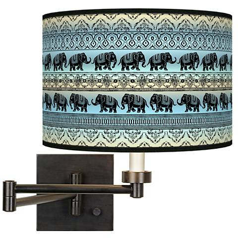 Elephant March Giclee Bronze Swing Arm Wall Lamp