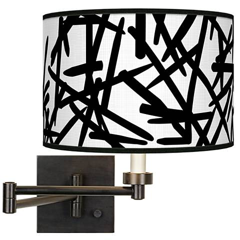 Sketchy Giclee Bronze Swing Arm Wall Light
