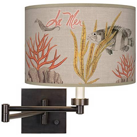 La Mer Coral Giclee Dark Bronze Plug-In Swing Arm Wall Light