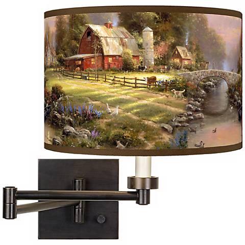 Thomas Kinkade Sunset at Riverbend Farm Swing Arm Wall Light