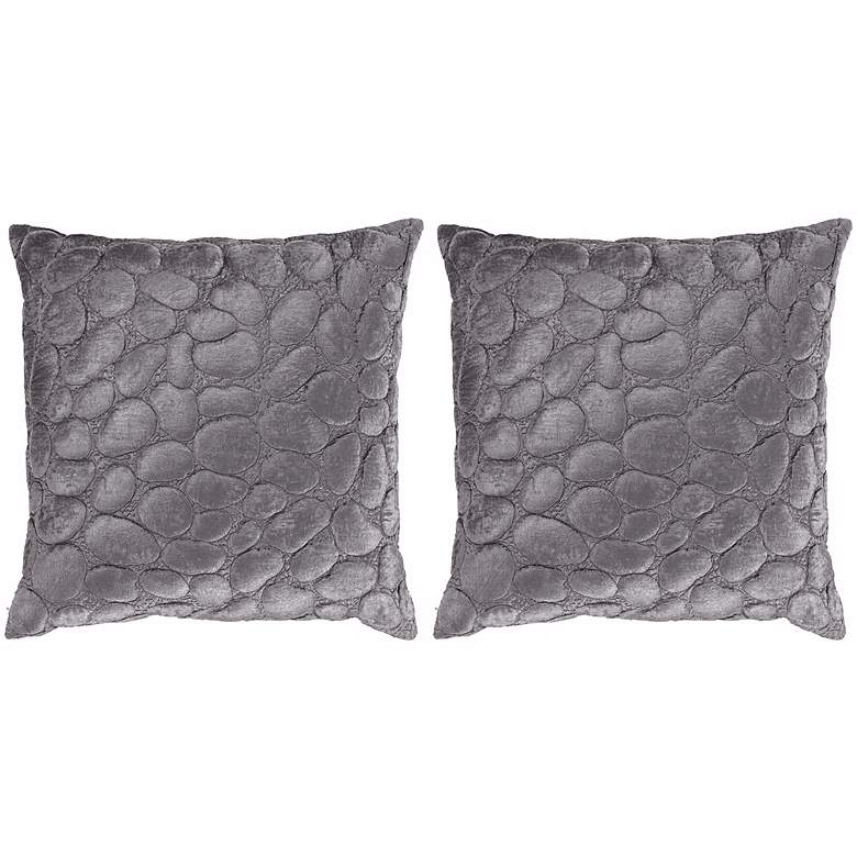 Silver Grey Pebbles Set of Two Pillows