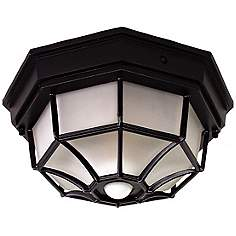 Octagonal 12 Wide Black Motion Sensor Outdoor Ceiling Light