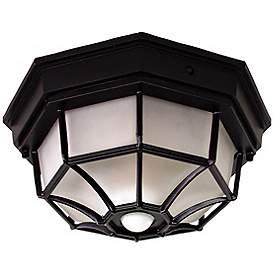 Octagonal 12 Wide Black Motion Sensor Outdoor Ceiling Light