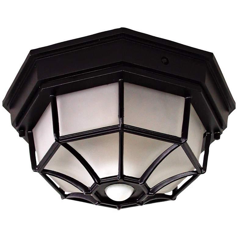 "Octagonal 12"" Wide Black Motion Sensor Outdoor Ceiling Light"