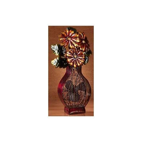 Deco Breeze Decorative Painted Finish Flower Vase Desk Fan
