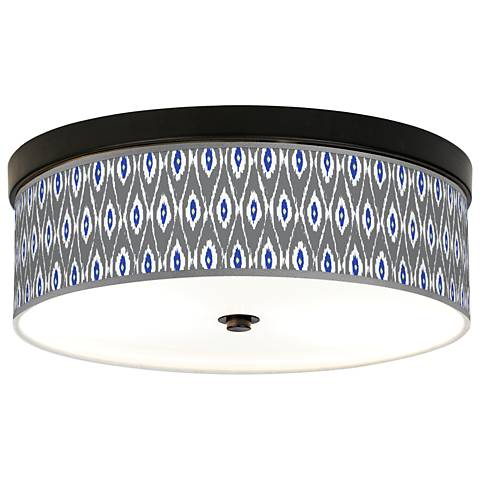 American Ikat Giclee Energy Efficient Bronze Ceiling Light