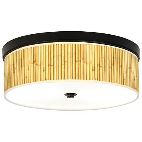 Bamboo Mat Giclee Energy Efficient Bronze Ceiling Light