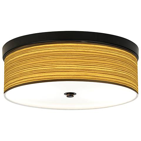 Tawny Zebrawood Giclee Energy Efficient Bronze Ceiling Light