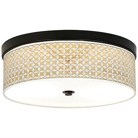 Marble Quatrefoil Giclee Energy Efficient Bronze Ceiling Light
