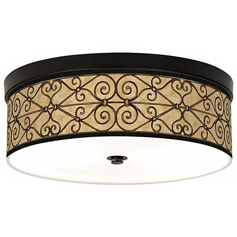 Trellis Hearts Giclee Bronze CFL Ceiling Light