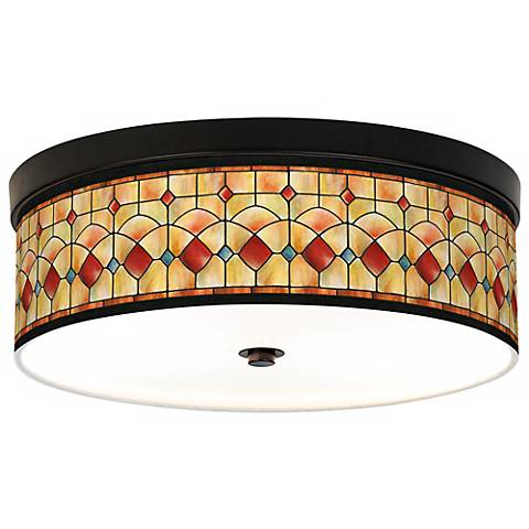 Tiffany-Style Reds Giclee Bronze CFL Ceiling Light