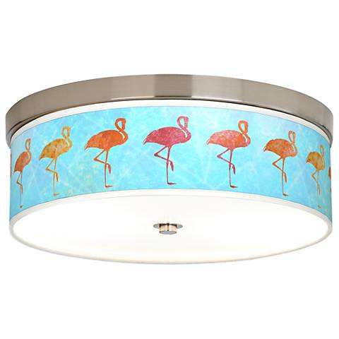 Flamingo Shade Giclee Energy Efficient Ceiling Light