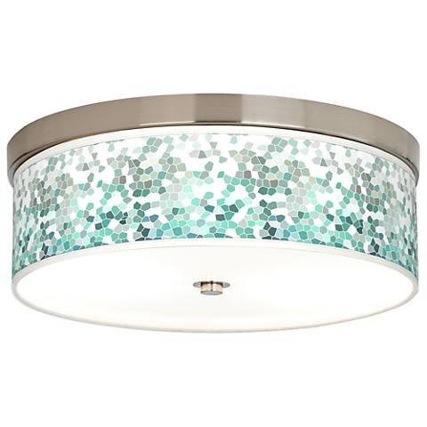 Aqua Mosaic Giclee Energy Efficient Ceiling Light