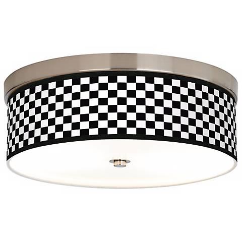 Checkered Black Giclee Energy Efficient Ceiling Light