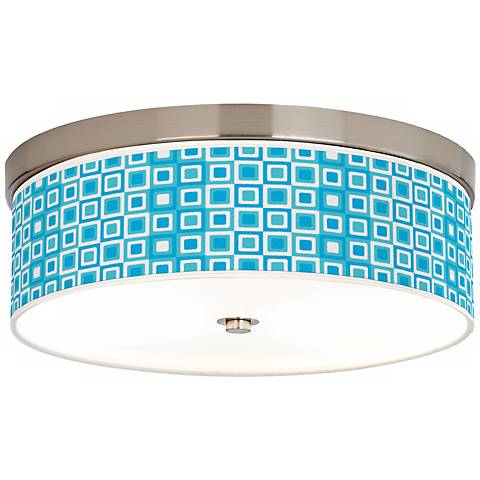 """Blue Boxes Giclee 14"""" Wide Energy Efficient Ceiling Light"""