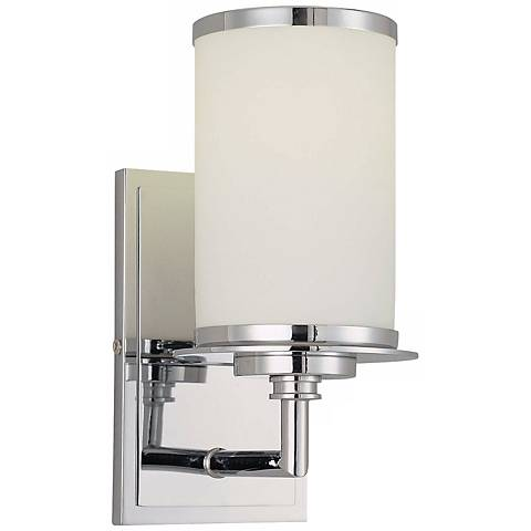 "Glass Note 9 3/4"" High Chrome Wall Sconce"