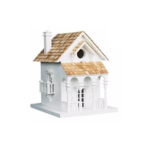 Cozy White Cottage Bird House