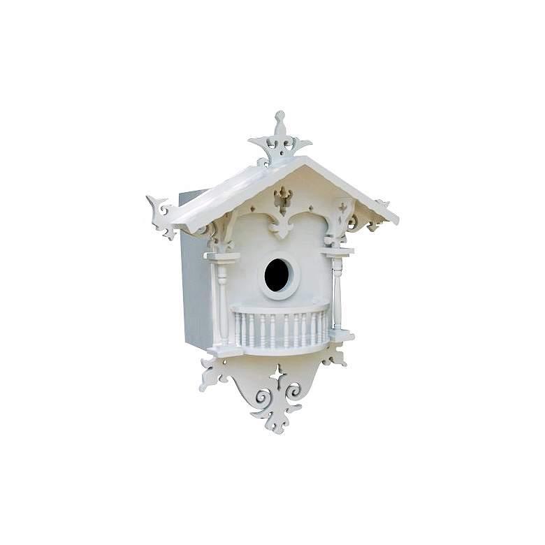 Ornate White Cottage Bird House