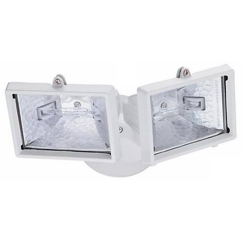 White Mini Twin Head Halogen Outdoor Flood Wall Light