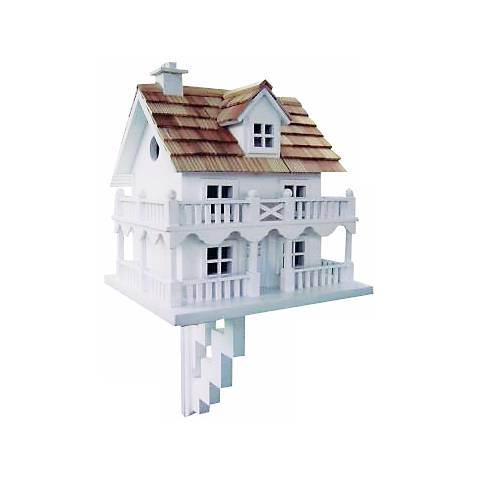 Two-Story White Cottage Bird House