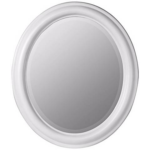 """White Finish 26"""" x 30"""" Simple Oval Wall Mirror"""
