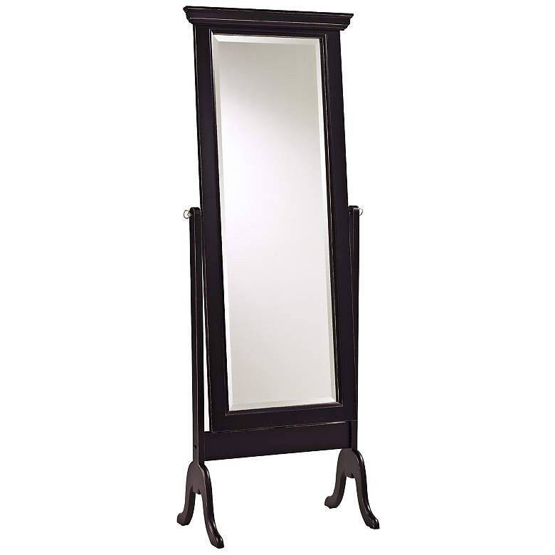 Distressed Matte Black Finish Full Length Cheval Mirror