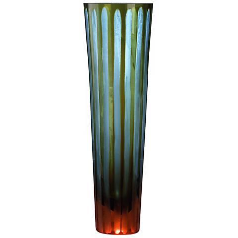 "Cyan and Orange 11 1/2"" High Art Glass Vase"