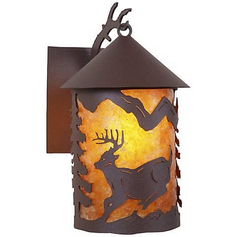 """Cascade Lantern Mountain Deer 13"""" High Outdoor Wall Light"""