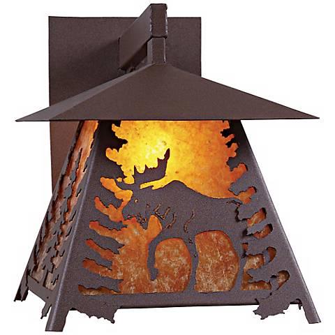 """Smoky Mountain Moose 13"""" High Mica Outdoor Wall Light"""