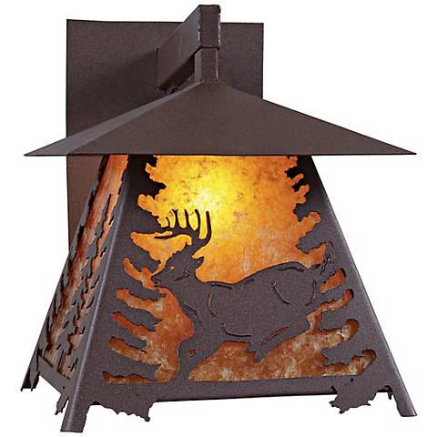 """Smoky Mountain Deer 14"""" High Outdoor Wall Light"""