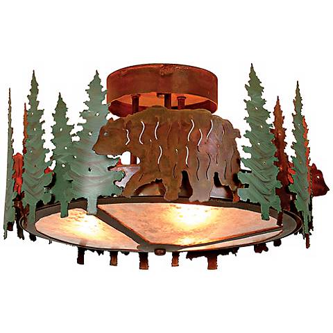"""Woodcrest Collection Bear 17"""" Wide Ceiling Light"""