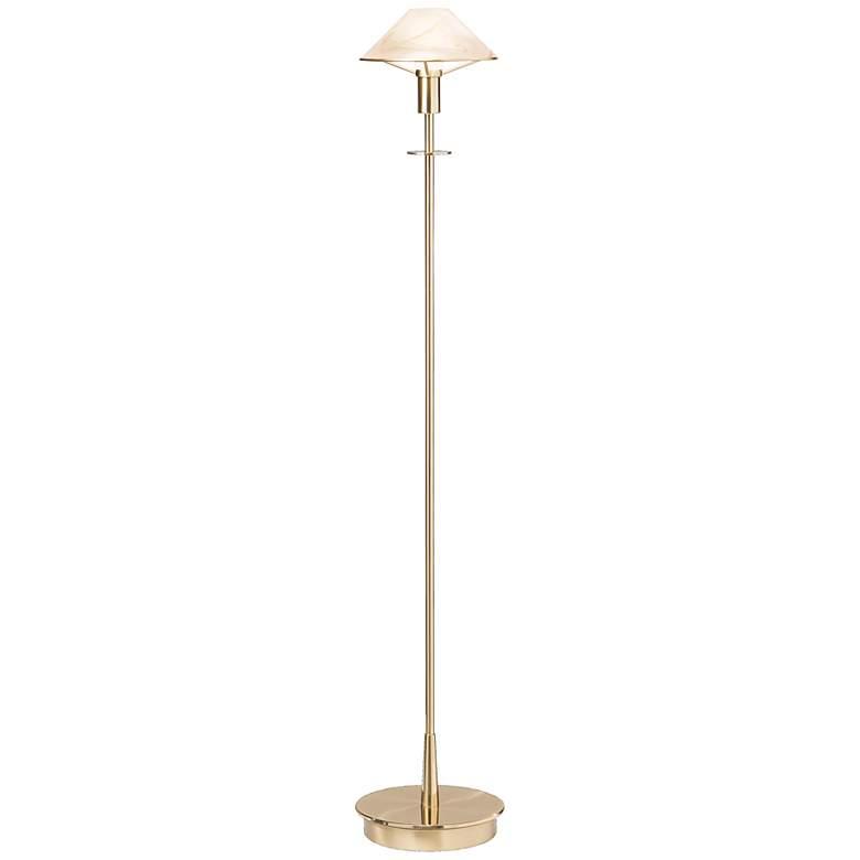 Holtkoetter Brushed Brass Alabaster Brown Floor Lamp