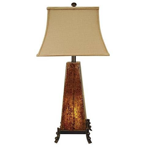 Cross Creek Dark Amber Rock Glass Night Light Table Lamp