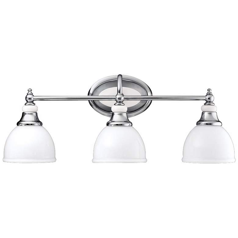 "Chrome and Cased Opal Glass 24"" Wide Bathroom Light"